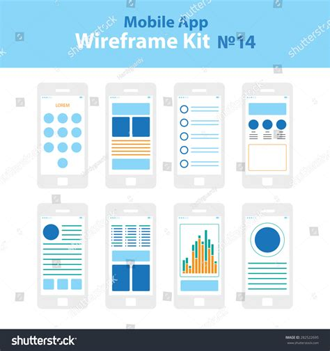 mobile app layout template mobile app wireframe ui kit 14 stock vector 282522695
