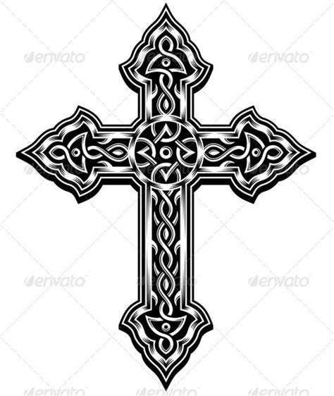 cross tattoo with tribal background ornate cross vector and shoulder