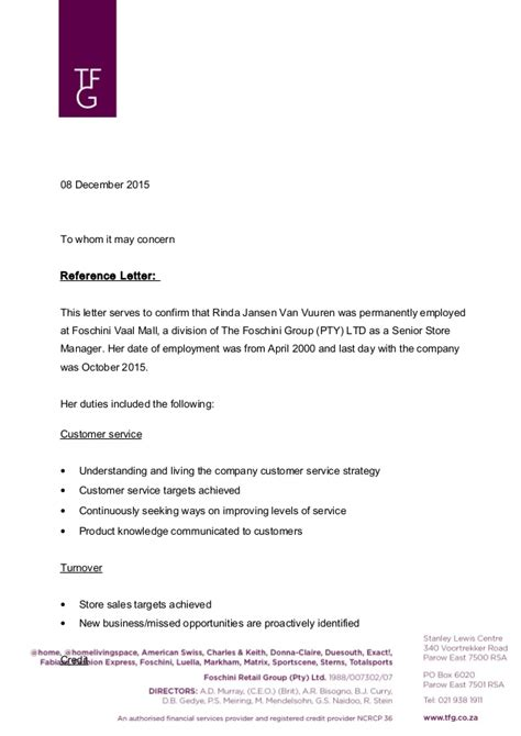 Customer Confirmation Letter Reference Letter Of Confirmation Of Employment Rinda Jansen Vuu