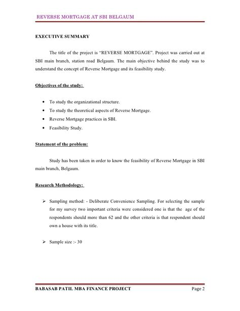 Synopsis Format For Mba Finance Project by Mortgage At Sbi Mba Finance Project Report