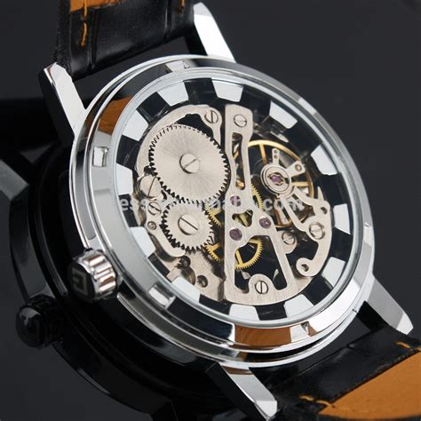 Jam Tangan Omega Skeleton Leather ess luxury leather skeleton wind up automatic mechanical wm119 ess black