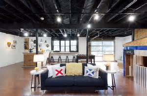 Black ceiling basement industrial with black sofa black ceiling