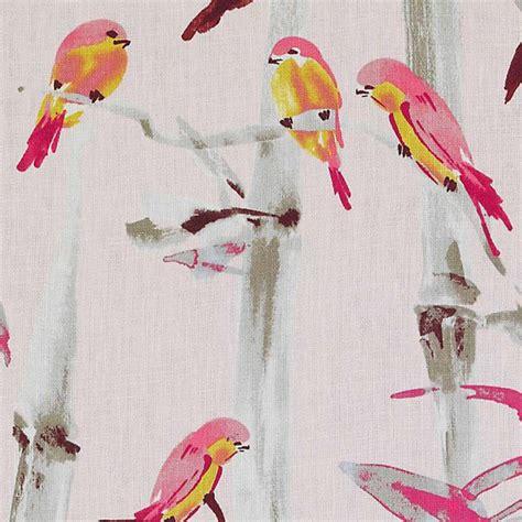 pink bird curtains pink linen upholstery fabric artistic grey pink bird