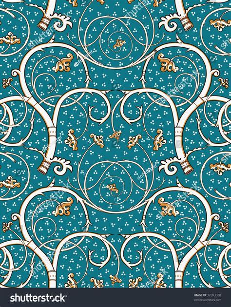 Victorian Design Style renaissance floral seamless pattern emerald white stock