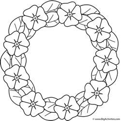 poppy template to colour poppy wreath coloring page remembrance day