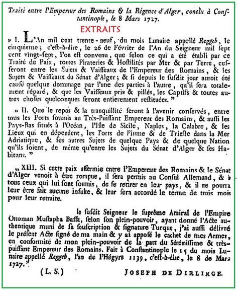 Empereur Ottoman by Trait 233 Entre L Empereur Des Romains Et La R 233 Gence D Alger