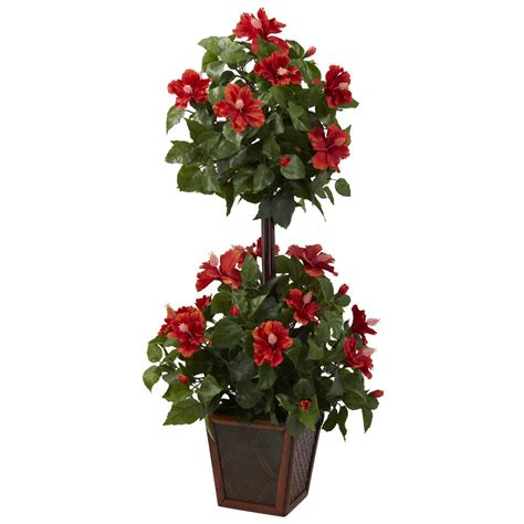 silk topiary plants 39 quot hibiscus topiary silk plant artificial plants silk