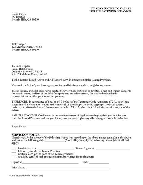 printable tennessee eviction notice tennessee 3 day notice to vacate for dangerous behavior