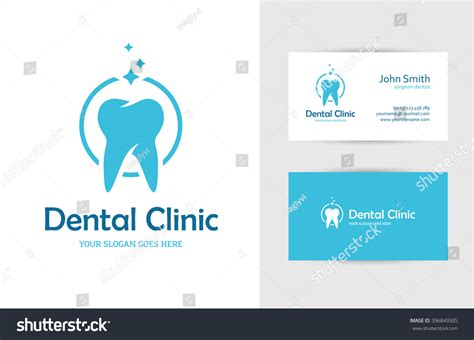 tooth card template blue logo tooth business card stock vector 396849505