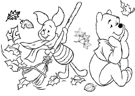 winnie the pooh coloring page autumn winnie the pooh fall coloring pages getcoloringpages com