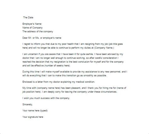 Resignation Letter Due To Health 18 Exle Of Resignation Letter Templates Free Sle Exle Format Free