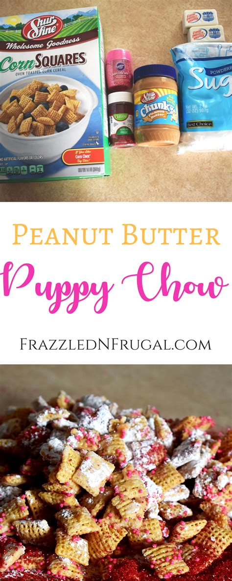 puppy chow recipe with peanut butter peanut butter puppy chow recipe frazzled n frugal