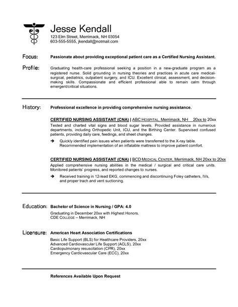 Resume Objective Exles For Certified Nursing Assistant cna resume sles project scope template