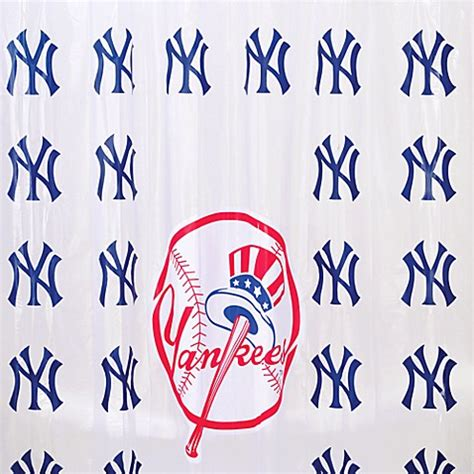 yankee curtains mlb new york yankees pvc frosted shower curtain bed bath