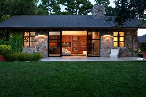one story house exterior midcentury with horizontal wood