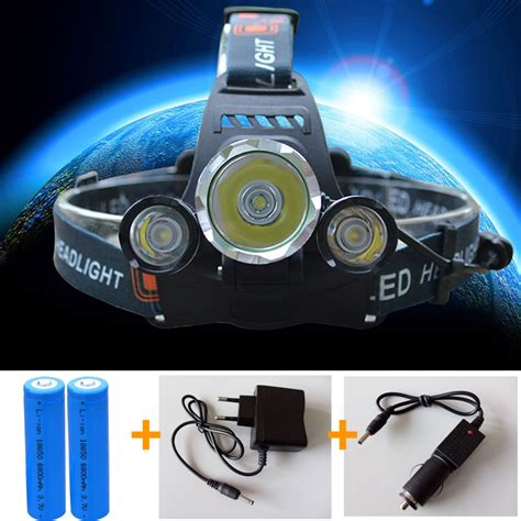 High Power Headl Cree Xm L T6 5000 Lumensboruit 3 led headlight 6000 lumens cree xm l t6 l high power led headl 2pcs 18650 5000mah
