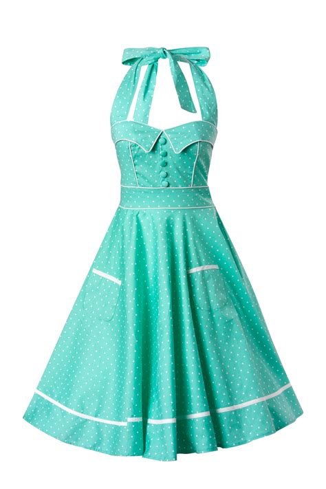 50s swing 50s retro halter olivie swing dress in mint green and