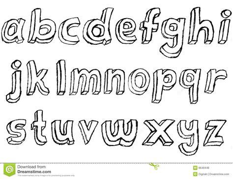 grungy hand drawn lowercase alphabet stock illustration