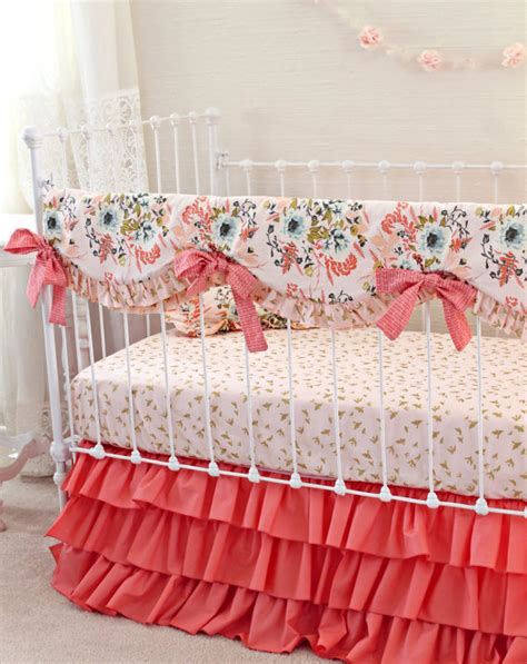 Items Similar To Blush Pink And Coral Crib Bedding Girl Pink Gold Nursery Bedding