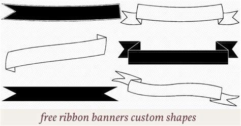 free printable ribbon banner templates free ribbon banners custom shapes for photoshop
