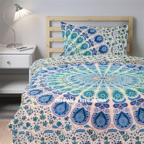blue boho bedding blue white peacock mandala boho duvet cover set with one