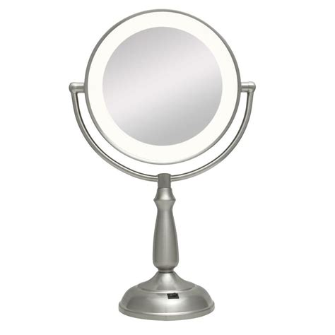 Zadro Lighted Makeup Mirror by Zadro Ultra Bright Led Lighted 10x 1x Vanity Mirror In Satin Nickel Ledvpr410 The Home Depot