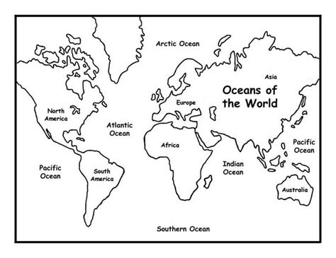 printable world map showing continents and oceans coloring sheet of the world world maps coloring pages