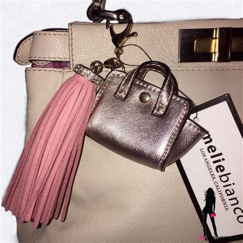 Ac 8490 Rosegold Pink Leather 1 melie bianco tasseled rosegold and pink quot handbag quot handbag charm from franonymous s closet on