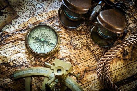 sextant age of exploration stock bild von vintagestill leben mit kompass sextant
