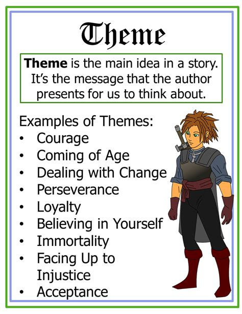 major themes of a story starting with stories classroom charts 2
