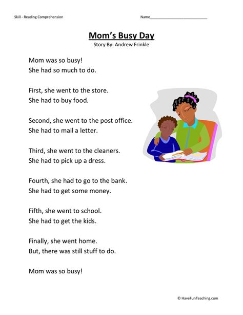 Reading Comprehension Worksheets 1st Grade by Reading Comprehension Worksheet S Busy Day