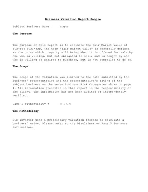 business valuation template business valuation report template