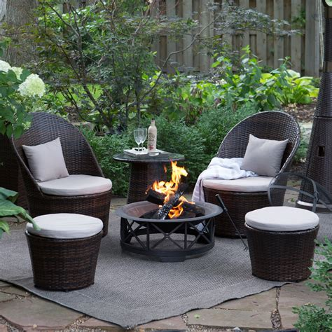 coral coast layton wicker outdoor fire pit chat set