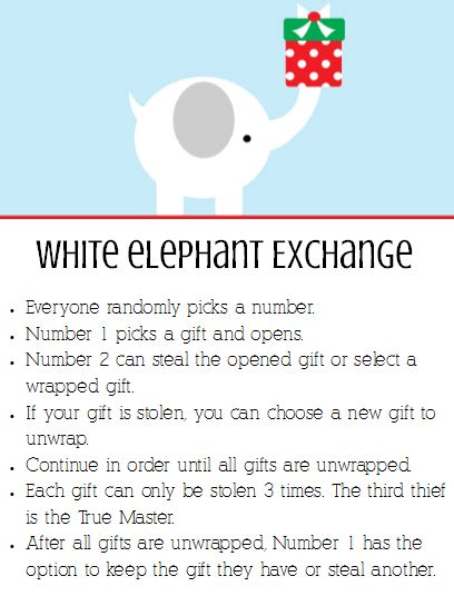 printable numbers for white elephant christmas party white elephant gift exchange