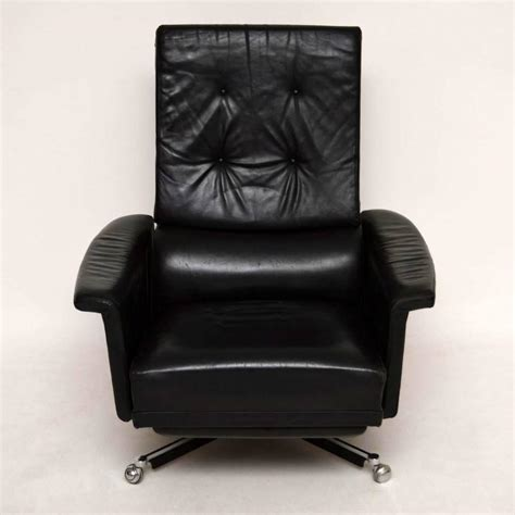 Swivel Recliner Armchair by Retro Leather Swivel Reclining Armchair Vintage 1960s At