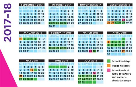 Calendar 2018 With School Holidays Uk School Calendar 2017 18 Academic Templates Get