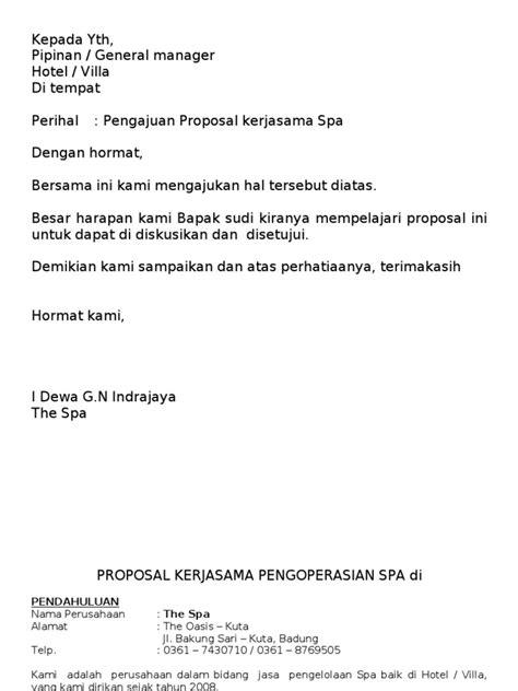 membuat proposal hotel proposal spa umum
