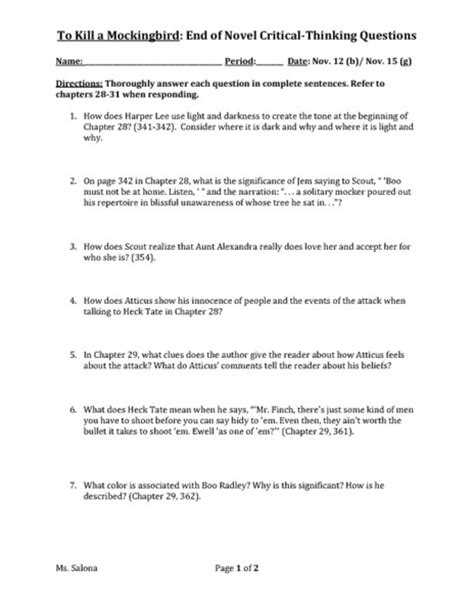 themes in to kill a mockingbird chapter 17 to kill a mockingbird universal theme questions worksheet