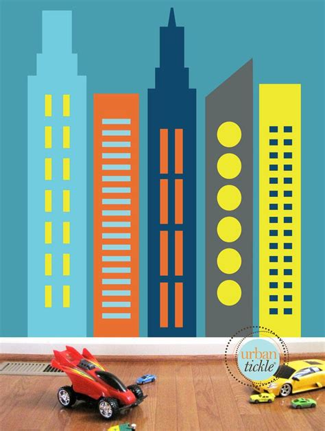 wall stickers city skyscrapers wall decals large nursery wall decor wall stickers buildings city skyline