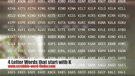 4 Letter Words Made From 4 letter words that start with k