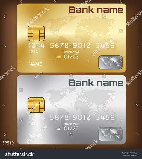 Visa Credit Card Design Template Gold Silver Credit Card Or Smart Card Template Design