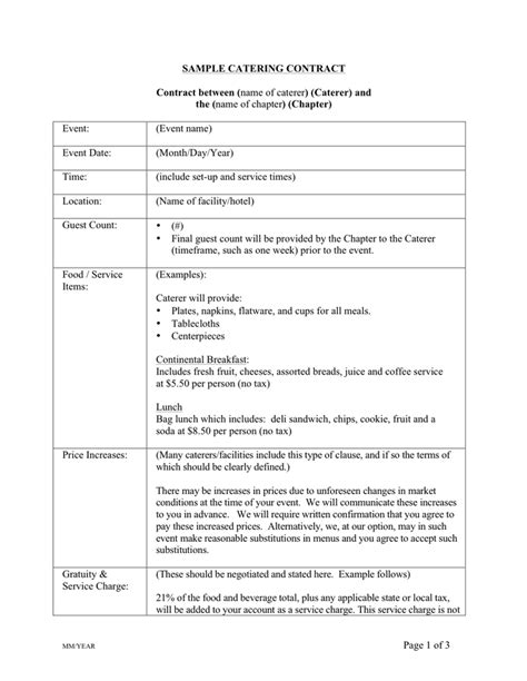Catering Contract Template Word by Catering Contract Template Free Documents For