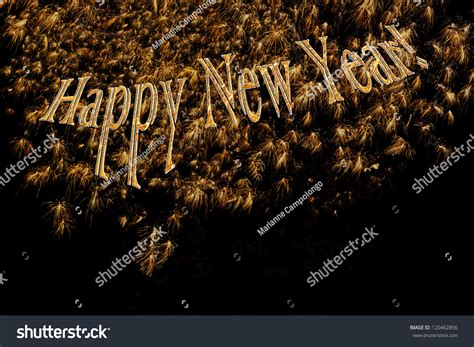 elegant happy  year gold letters  fireworks  sophisticated formal banner poster card