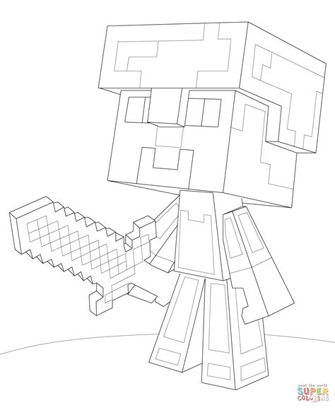 Minecraft Coloring Pages Diamond Armor | minecraft steve diamond armor coloring page free