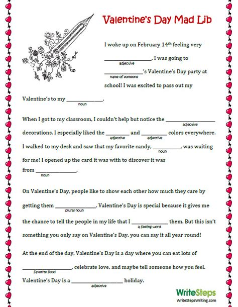 free valentines mad lib activity the inspired writer