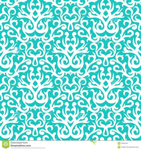Embroidered Home Decor Fabric by Damask Pattern In White On Turquoise Stock Vector