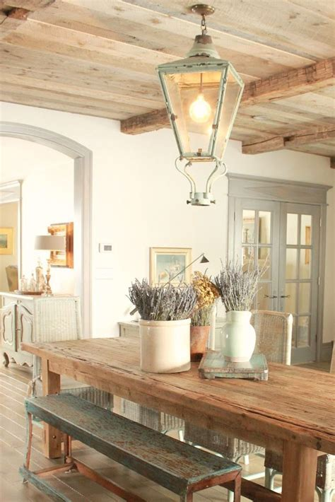french country decor  dining room  rustic farm table