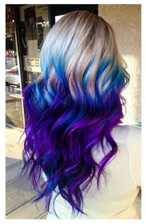 dye bottom hair tips still in style purple blue ombre dyed hair hair color pinterest