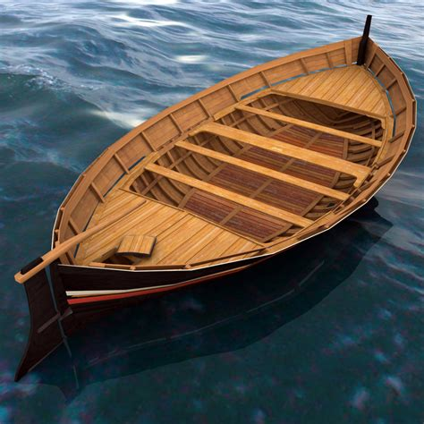row boat model wooden row boat 3d model turbosquid 1220626