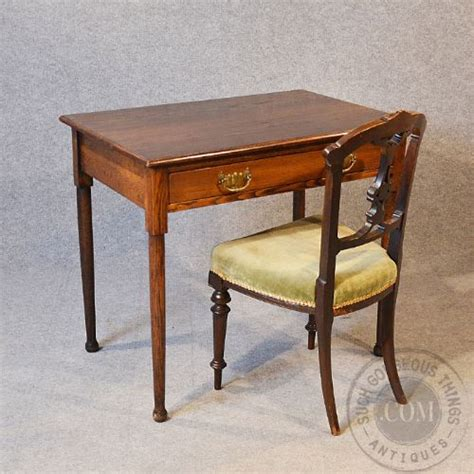 antique oak library table writing desk with drawer